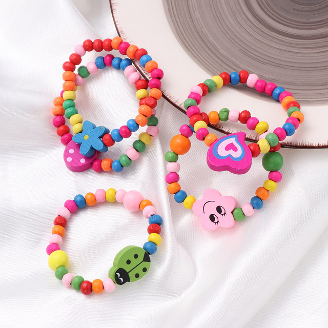 10pcs Natural Wood Kids Elastic Wooden Beads Bracelets Children Girls Party Gift (Random Color) 3