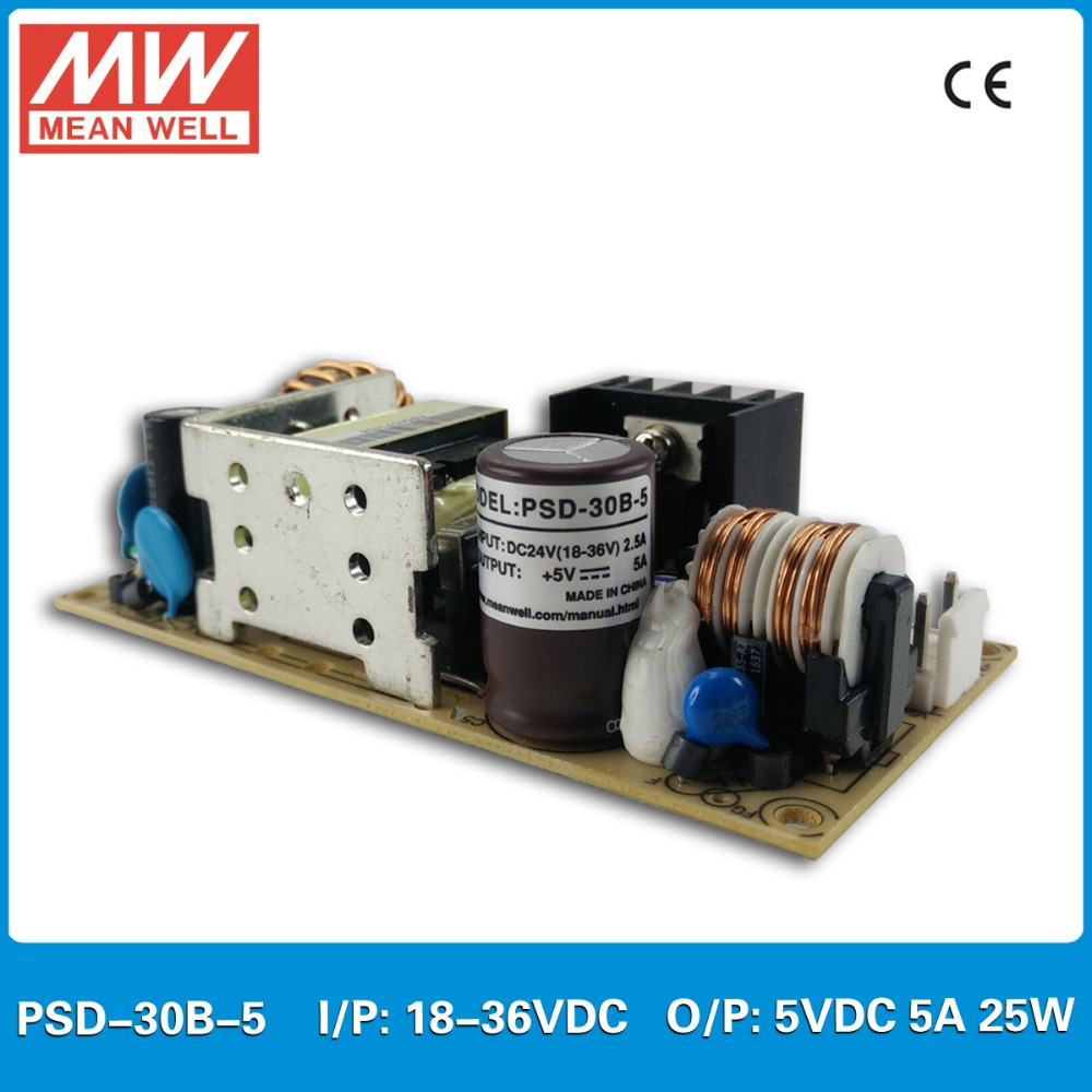 Original MEAN WELL DC DC converter PSD-30B-5 Input 18-36VDC output 5VDC 25W 5A PCB type dc dc isolated converter dynacord psd 218