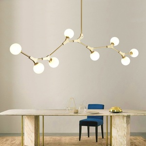 Image 3 - Postmodern LED chandelier living room suspended lighting Glass deco fixtures dining hanging lights Nordic bedroom pendant lamps