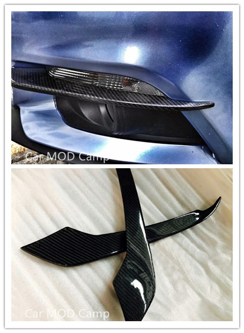 For Ford Mustang 2015 2016 2017 Carbon Fiber Front Head Fog Light Lamp Eyelid Cover Trim 2pcs Car Styling Accessories