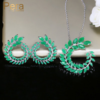 Pera Trendy Women Costume Jewelry Silver Color Big Marquise Cut Green Cubic Zirconia Necklace And Earring