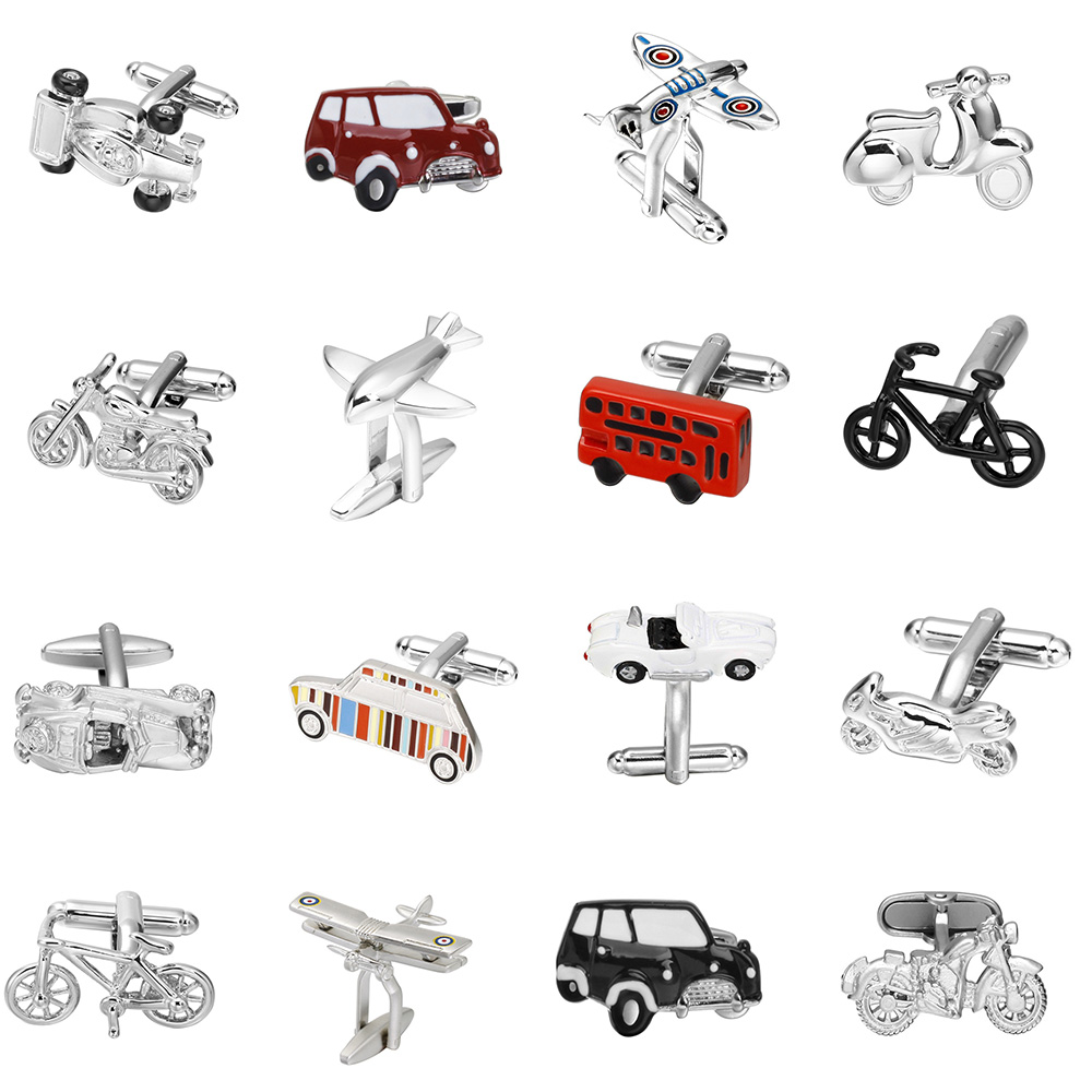 MeMolissa Free Shipping 18 Styles Vintage Bus Cufflinks Novelty Traffic Car/Airplane/Bicycle/Motorcycle Design Cooper Material