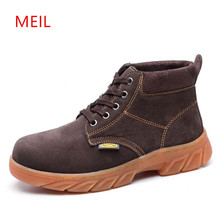 MEIL  Winter Men Work Safety Shoes Steel Toe Warm Breathable Mens safety Boots Labor Insurance work boots
