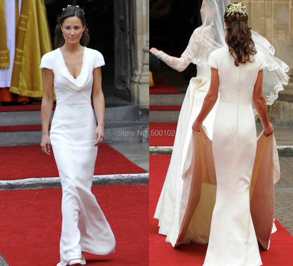 Wedding Pippa Middleton Wedding Dress online buy wholesale pippa middleton dress from china white deep v draped neckline cap sleeve appliqued lace mermaid princess kate bridesmaid dresses