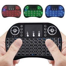 Rusia Mini Keyboard Nirkabel 3 Warna Backlit 2.4G Hz Bahasa Inggris Air Mouse Remote Control Touchpad untuk Android TV Box Tablet pc(China)