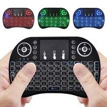 Russische Mini Drahtlose Tastatur 3 farbe hintergrundbeleuchtung 2,4 GHz Englisch Air Maus Fernbedienung Touchpad Für Android TV Box Tablet pc