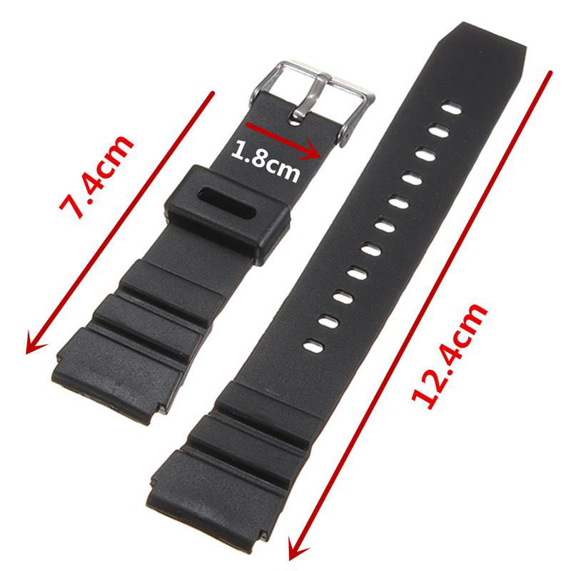 Black Watchbands Soft Silicone Rubber Strap Silver Buckle Wrist Watch Band  Military Sweatband Sport 18mm 20mm 22mm For Casio watchbands 18mm 20mm 22mm rubber watch strap high qualit men sports silicone band for casio watch accessories