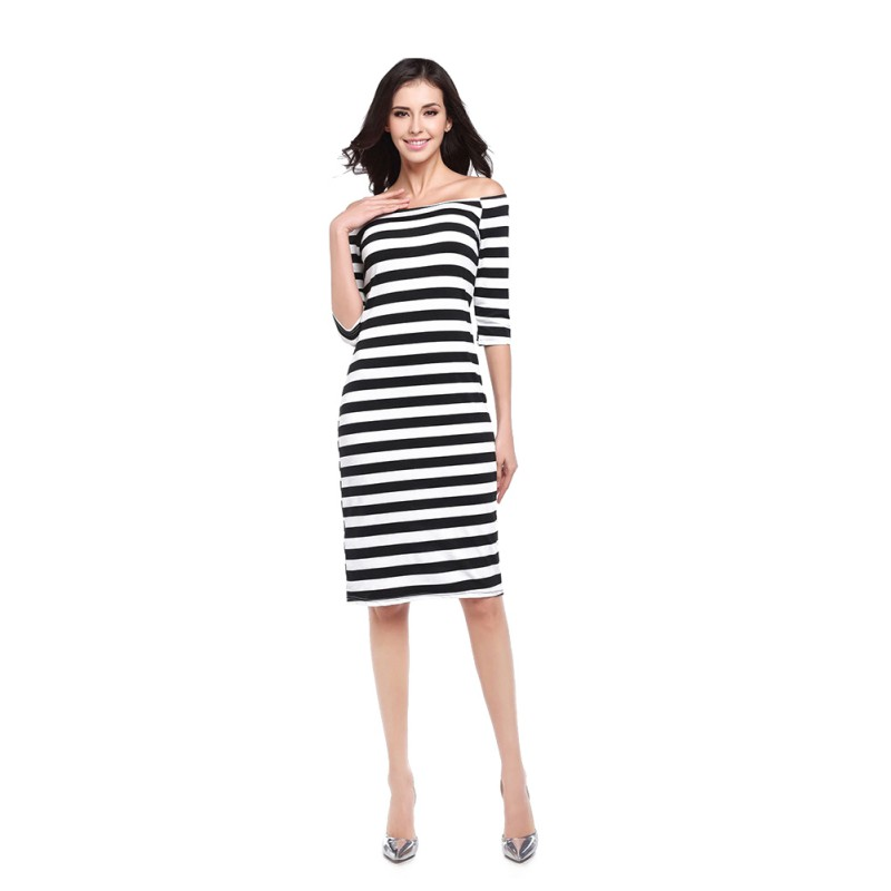 2018 Autumn Women Off Shoulder Stripe <font><b>Dress</b></font> Knee Length Female Casual <font><b>Sexy</b></font> <font><b>Dress</b></font> <font><b>A</b></font> <font><b>line</b></font> <font><b>Slash</b></font> Neck Bodycon <font><b>Dress</b></font> image