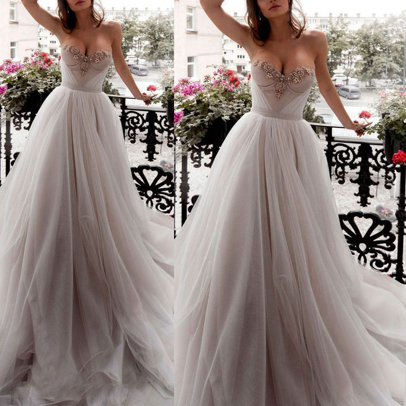 Gray Long   Evening     Dresses   Prom Party Gown Tulle Women Formal Gown For Prom Wedding Party   Dresses   Robe De Soiree