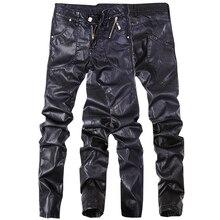 Neueste design hohe qualität männer leder jeans hosen denim gerade hosen schwarze farbe größe 28-36