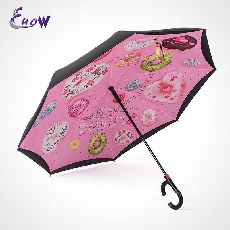 C-crochet coupe-vent semi-automatique inverse parapluie longue poignée inversé Double couche créatif auto Stand Protection contre la pluie parapluie