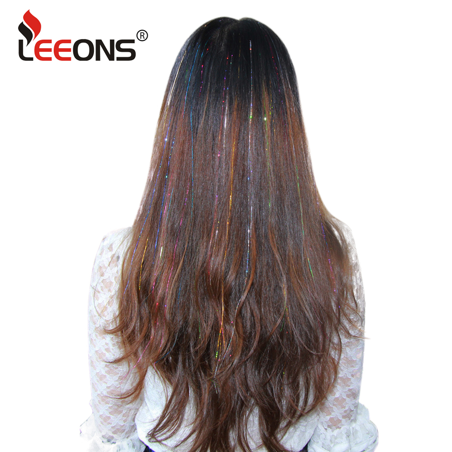 Leeons Hot Sale 16inch Sparkly Synthetic Clip In One Piece Hair Laser Glittering Sparkling Dazzle Colorful Tinsel Hair Extension