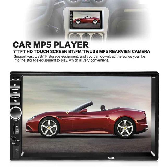 7 de Polegada Carro 2 DIN Rádio Do Carro Jogador De Áudio Estéreo Bluetooth Tela de Toque MP4 MP5 USB V2.0 Handsfree Rádio FM com Controle Remoto controle