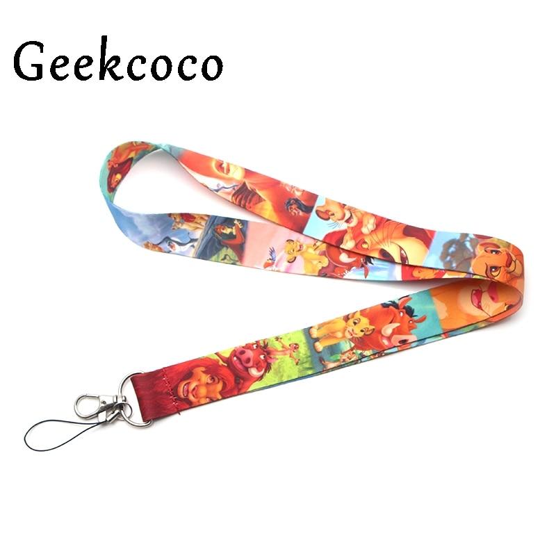 Lion King Cartoon Keychain Accessories Safety Breakaway Mobile Phone USB ID Holder Keys Straps Tags Neck  Lanyard Camera J0204