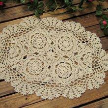 Винтажные Вязаные Салфетки 30x45 см Овальный коврик для стола потертый шик Свадебный декор