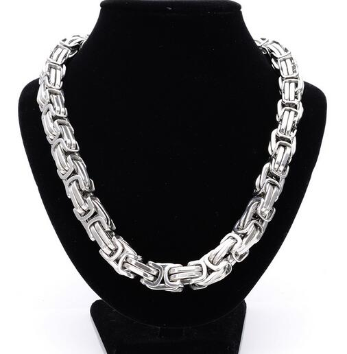 Best Quality silver Stainless Steel Necklace Heavy Huge 12mm 24   Box Link  Byzantine Chain Necklace For MEN b5c33292938f