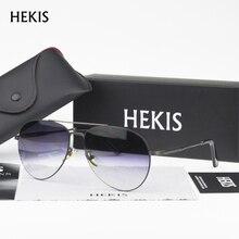 HEKIS Brand Men's Sunglasses Grey Gradient Lens Sunglasses Coating Mirror Sun Glasses oculos Male Eyewear For Men B2741