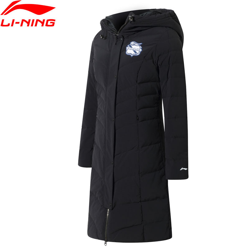 Li-Ning Women Puebla Club Soccer Training Down Jacket Warm Regular Fit LiNing Sports Winter Long Hooded Coats AYMN018 WWY403