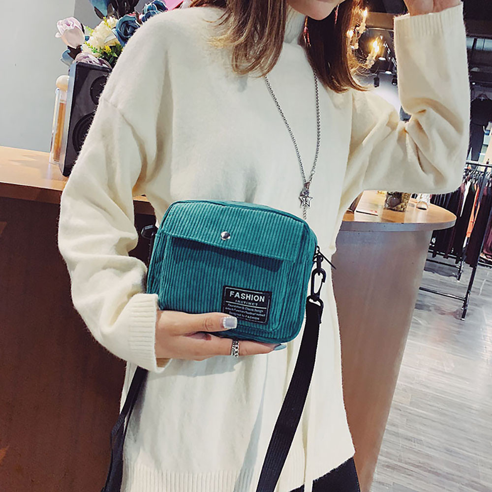 Square Bag Messenger-Bag Corduroy-Bag Canvas Small Cross-Body-Feb26 Single-Shoulder Women Fashion