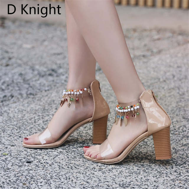 US $22.69 46% OFF|Big Size 33 48 Women Transparent Sandals Ankle Strap Square Female Beads High Heels Sandals Summer Comfortable Women Clear Shoes in