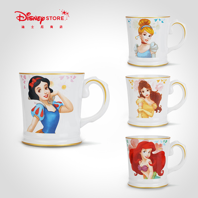 Genuine Disney Fashion Snow White Little Mermaid Belle Cinderella Mug Cup Ceramic High-quality Cup Collection Child Gift
