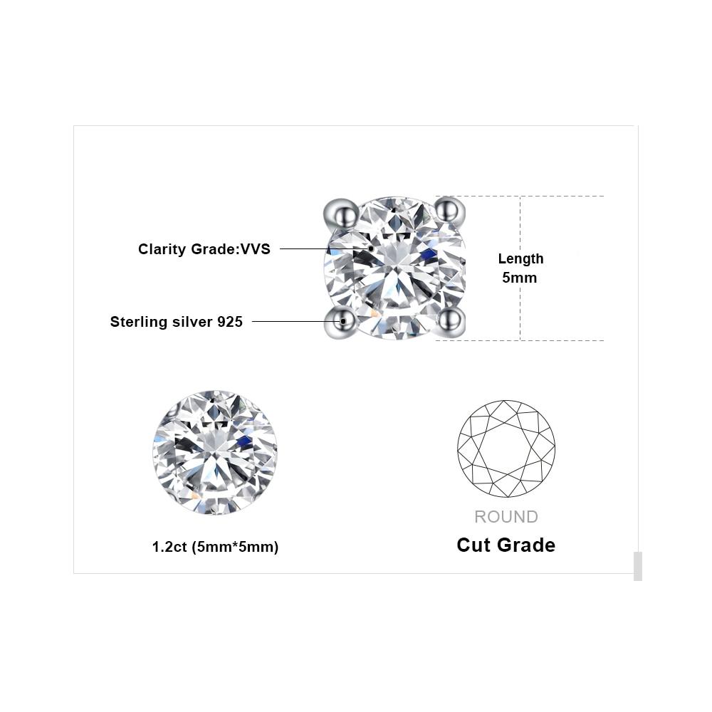 Dəyirmi 1ct Simulyasiya edilmiş Diamond CZ Stud Sırğalar 925 - Gözəl zərgərlik - Fotoqrafiya 5