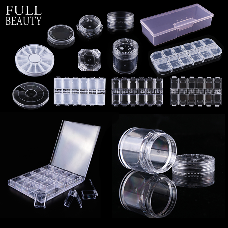 Full Beauty Plastic Transparent Empty Storage Box Nail Art Rhinestones Jewelry Glitter Beads Container Holder Nail Case CH538