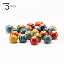 8mm Small Round Flower Glazed Ceramic Bead  Accessories For Needlework DIY Jewelry Making Loose European Charm Porcelain BeadsT8