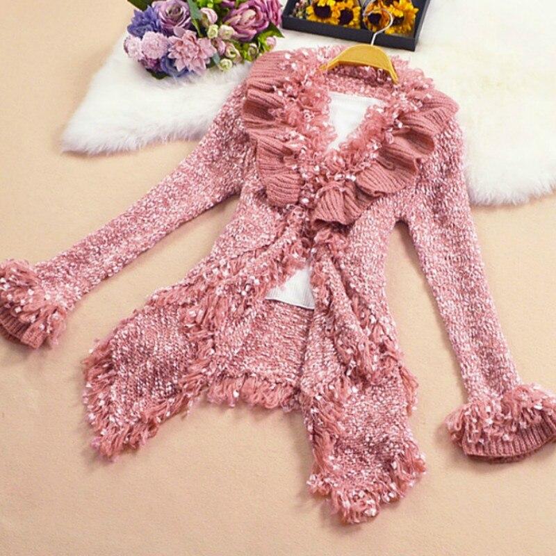 Sweet Woman Ruffles Sweater Jackets Lotus Cardigan Coats  Bright Silk Asymmetric Knitting Tassels Outwear Tops 2018