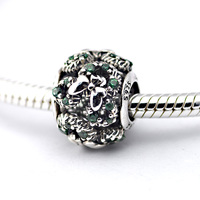 925 Sterling Silver Jewelry Hollow Green Bow Charm Beads Silver Charm Women DIY Jewelry For Bracelet & Choker Necklace