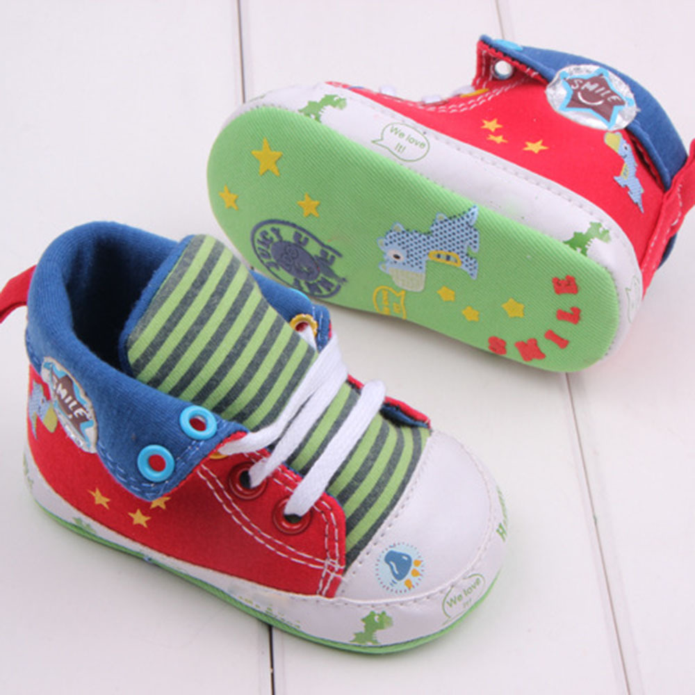 2017 Cute Cartoon Printed Baby Kids High Shoes Casual Anti-Slip Toddler Walk Sneaker