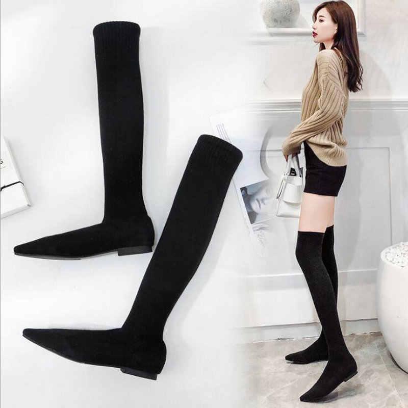 cc711348feed 2019 модные ботфорты вязаные женские острый носок эластичные Осень Зима  теплые ...