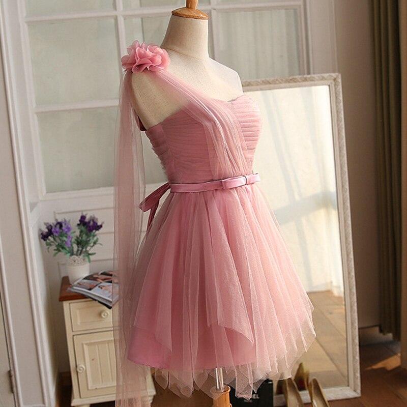 New Arrival Simple One Shoulder Vintage Knee Length Flowers Bridesmaid Dresses Party Gowns Vestido De Festa