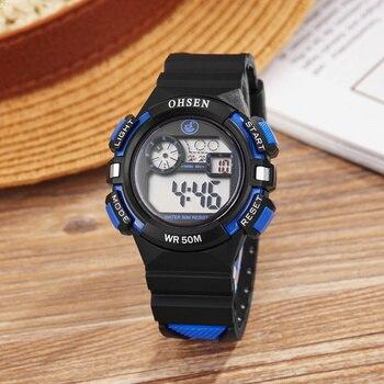 OHSEN Children Watches Cool Kids Watch Sports Alarm Watch Unisex Rubber Band Children's Digital LED Wristwatch 5ATM Dive Relogio