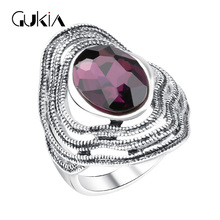Gukin Unique Design Vintage Antique Silver Bohemian Boho Rings For Women Anillos Bague Femme Wedding Sappire Ring
