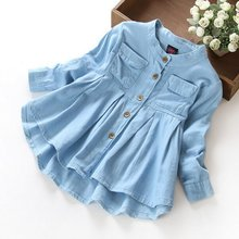 Spring/Autumn Cute Kids Girls Demin Shirts Soft Fabric Long Sleeve Shirt Children Clothing