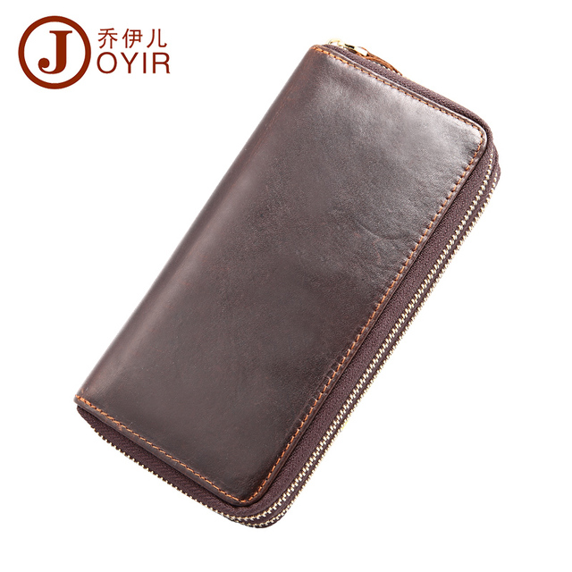 2017 Genuine Leather Men Wallets Zipper Design Business Male Wallet Fashion Purse Card Holder Long Clutch Wallets Men Gift 9315