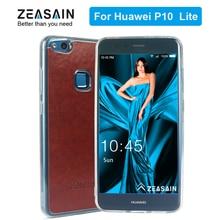 Original ZEASAIN Luxury Soft PU Leather Clear TPU Cover Case for Huawei P10 Lite Nova Lite P10lite Light Weight Shockproof Coque