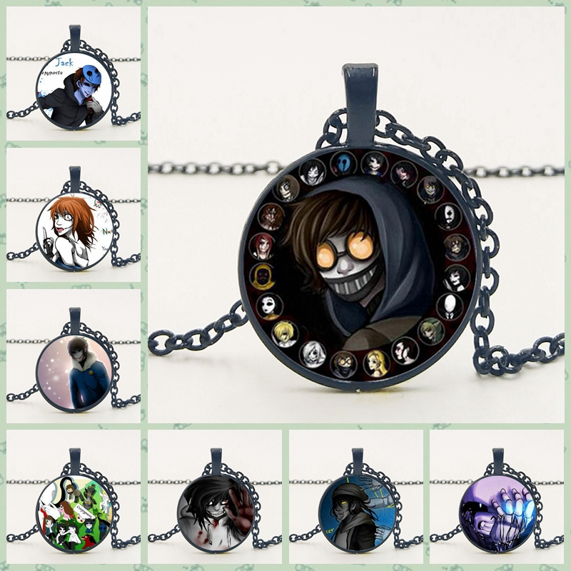 Children's Fashion Hot Sale Creepypasta CREEPY PASTA TICCI TOBY Necklace Glass Copper Pendant Chain JEFF THE KILLER Gothic Gift