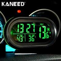Цифровой Авто термометр Автомобильный Батарея вольтметр Напряжение метр тестер Мониторы 12 В/24 В фосфоресцирующий часы мораторий оповещени...