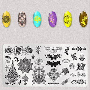 Image 2 - 1Pcs Dry Flowers Nail Stamping Plates Leaves Image Rectangle Nail Art Stamp Plate Manicure Template Stencils Tools