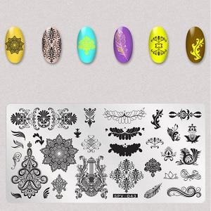 Image 2 - 1Pcs Trockene Blumen Nail Stamping Platten Blätter Bild Rechteck Nail art Stempel Platte Maniküre Vorlage Schablonen Werkzeuge
