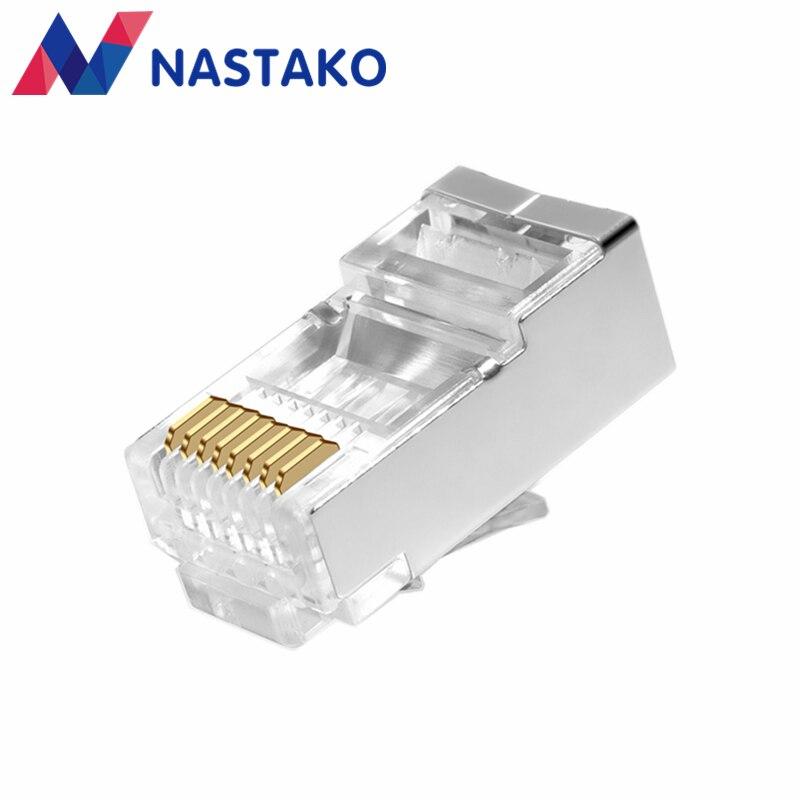 Nastako 50 шт. Cat5e Cat6 RJ45 разъем RJ45 зажигания cat 6 сетевой кабель Разъемы Сплит тип металла экранированный модульные терминалы