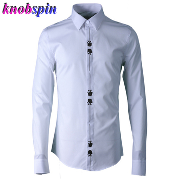 Rose Embroidery Shirt men 2019 New arrival long sleeve Turn-down collar Slim Casual shirts male Plus size 4XL Solid Cotton shirt