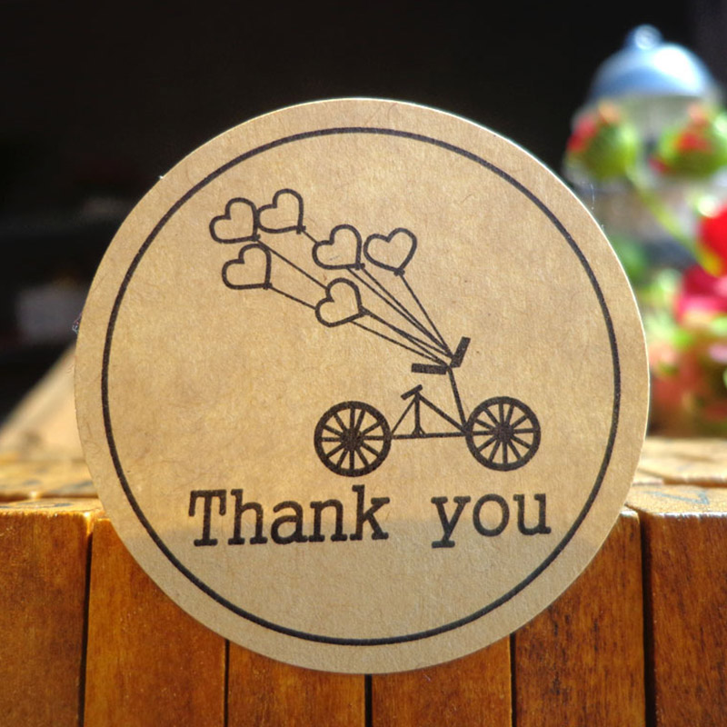120pcs/lot Round Kraft Paper Seal Sticker Romantic Bicycle Heart Holiday Thank You Stickers Packaging Label Material Supplies P2120pcs/lot Round Kraft Paper Seal Sticker Romantic Bicycle Heart Holiday Thank You Stickers Packaging Label Material Supplies P2