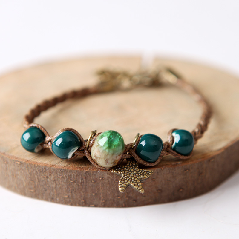8SEASONS Chinese Style Handmade Bracelet Braided Wax Rope Lobster Clasp Blue Green Color Ceramic Beads Star Charms, 1 Piece
