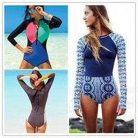 Sexy One Piece Swimsuit Long Sleeve Swimwear Women 2018 Print Floral Bathing Surfing Retro Swim Suits