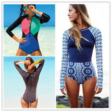 Sexy One Piece Swimsuit Long Sleeve Swimwear Women 2018 Print Floral Bathing Surfing Retro Swim Suits Monokini Maillot De Bain