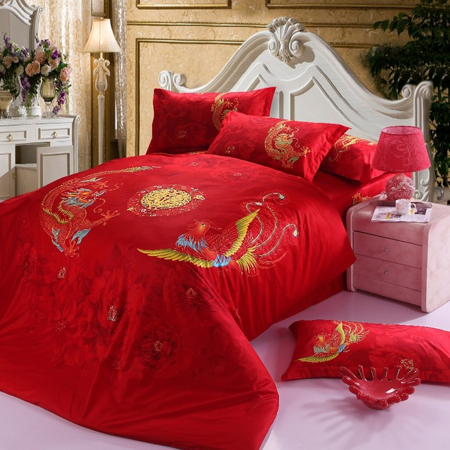 Chinese Wedding Bedding Set Red Dragon Bed Linens Bed Sheet Set Bedclothes  Queen Size 4 Pieces