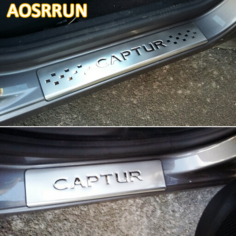 AOSRRUN Stainless steel scuff plate door sill 4pcs/set Car Accessories For Renault Captur 2014 2015 Car-Styling for renault captur luxurious chrome door handle covers accessories stickers car styling 2013 2014 2015 2016